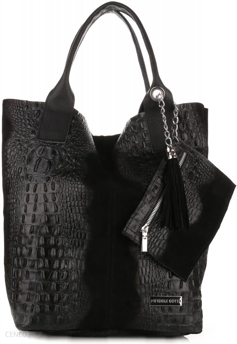 f5a3fb2278ff0 Torebki Skórzane VITTORIA GOTTI Made in Italy Shopper bag Aligator Czarna  (kolory) - zdjęcie