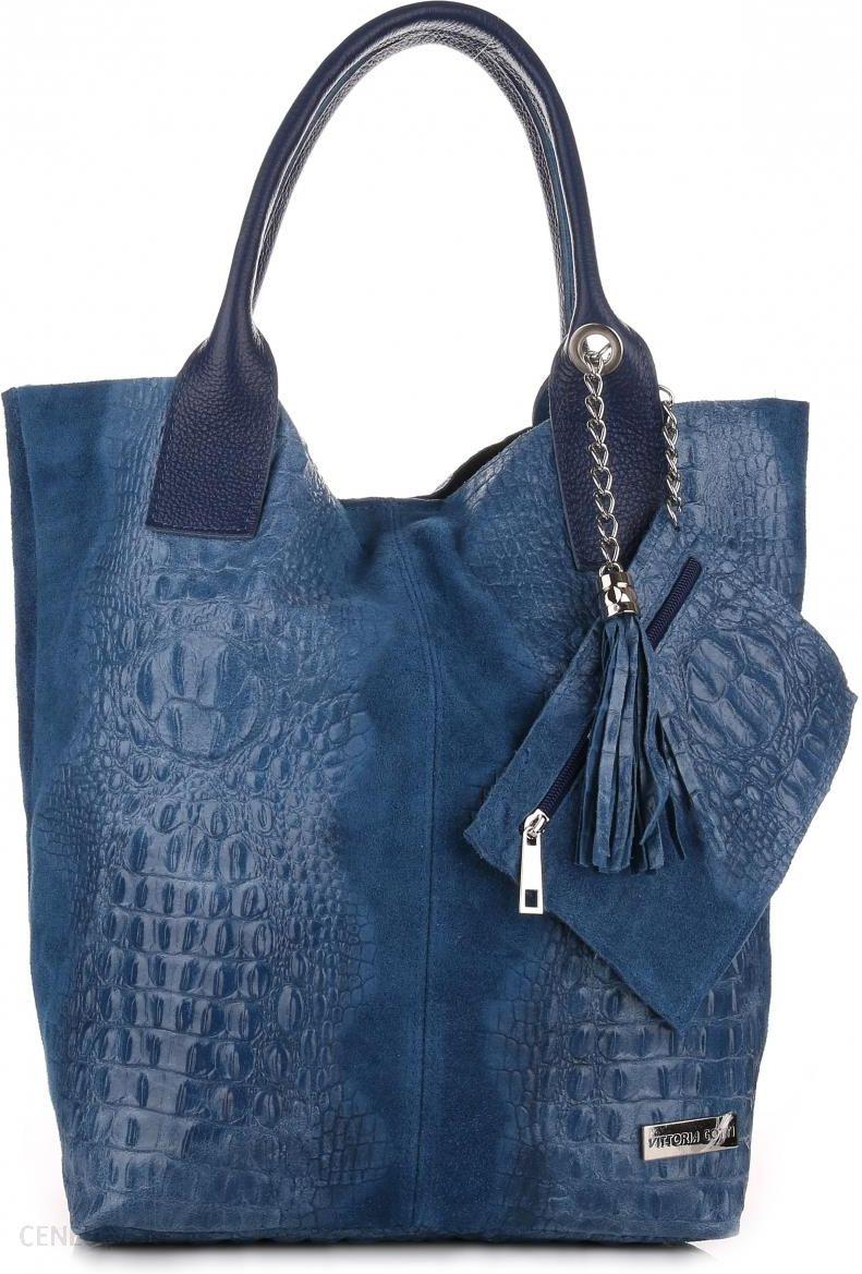 80039e09d4c05 Torebki Skórzane VITTORIA GOTTI Made in Italy Shopper bag Aligator  Niebieska (kolory) - zdjęcie