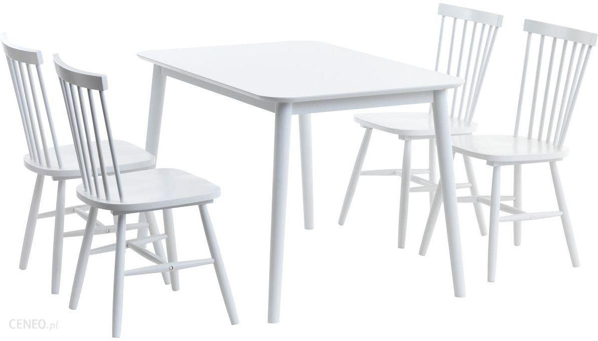 Jysk Stół Langdal 4 Krzesła Langdal Białe