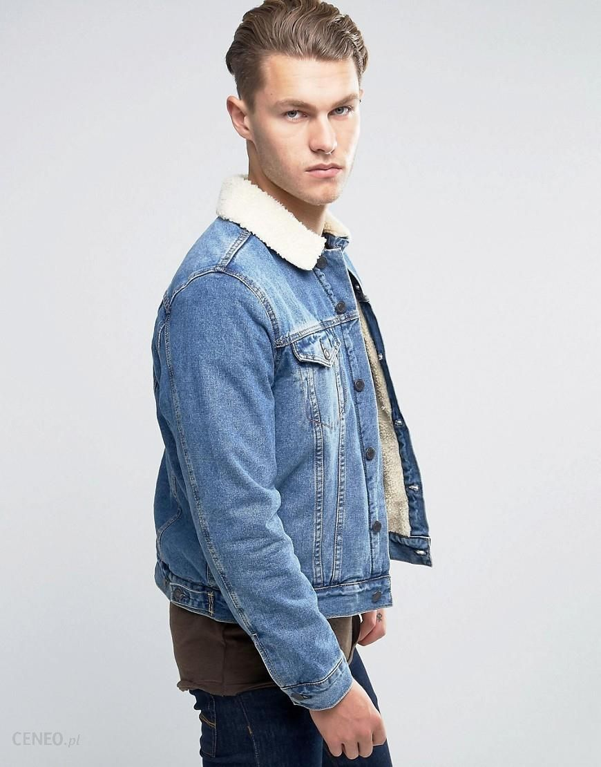 33c4fccb350 New Look Denim Jacket In Mid Wash Blue With Borg Lining   Collar - Blue -
