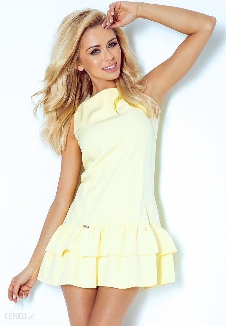 113 1 Sukienka z falbankami marciano jasny żółty Ceny i opinie Ceneo.pl