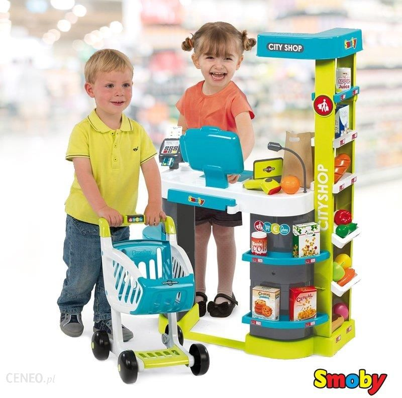 ea31b7cd5775fb Smoby Supermarket City Shop Kasa Wózek + akcesoria (350207) - Ceny i ...