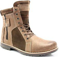 de7a9c62fd121b KENT 237 BRĄZ+WELUR - Męskie buty zimowe skóra - Brązowy