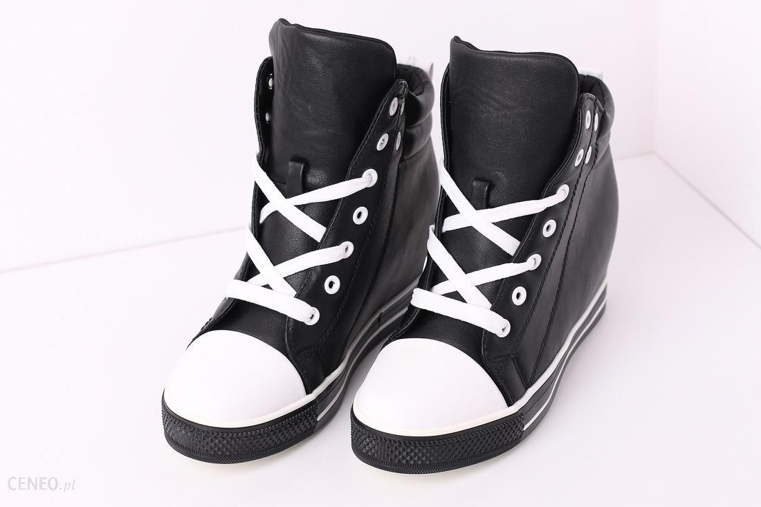 5a751950 Buty czarno - białe sneakersy na koturnie wiązaneModel 06 - Ceny i ...