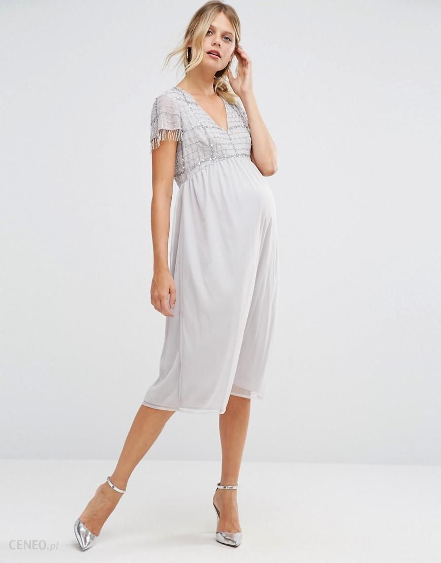 d828d06191928 Maya Maternity Midi Dress With Embellished Bodice And Fringed Sequin Detail  - Silver - zdjęcie 1
