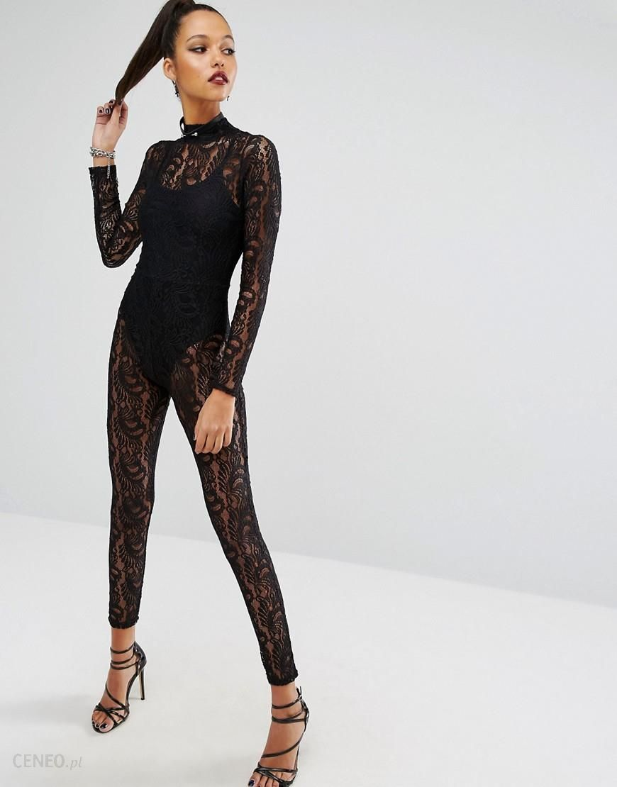 missguided halloween lace unitard - black - ceneo.pl