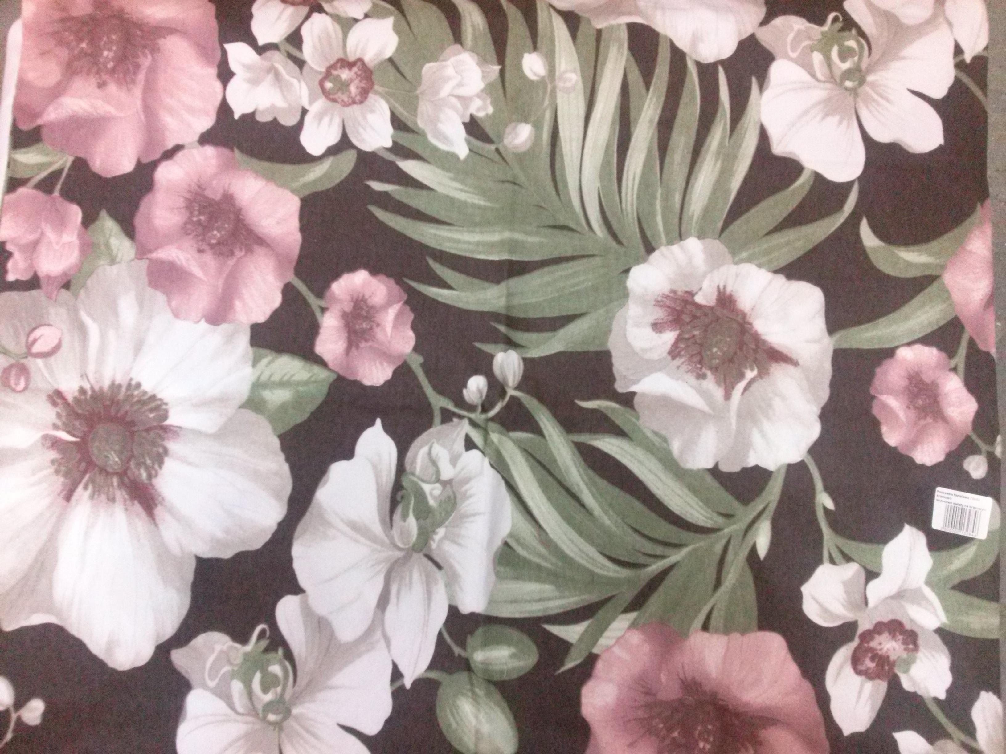 Poszewka Flanelowa 70x80 Kremowo Wrzosowe Kwiaty Na Brązowym Tle