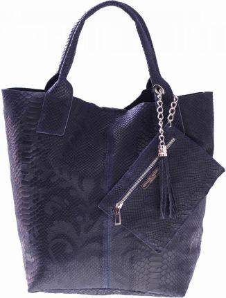 051721b436001 Shopperbag torebka Skórzana wzory 3D Granatowa (kolory) ...