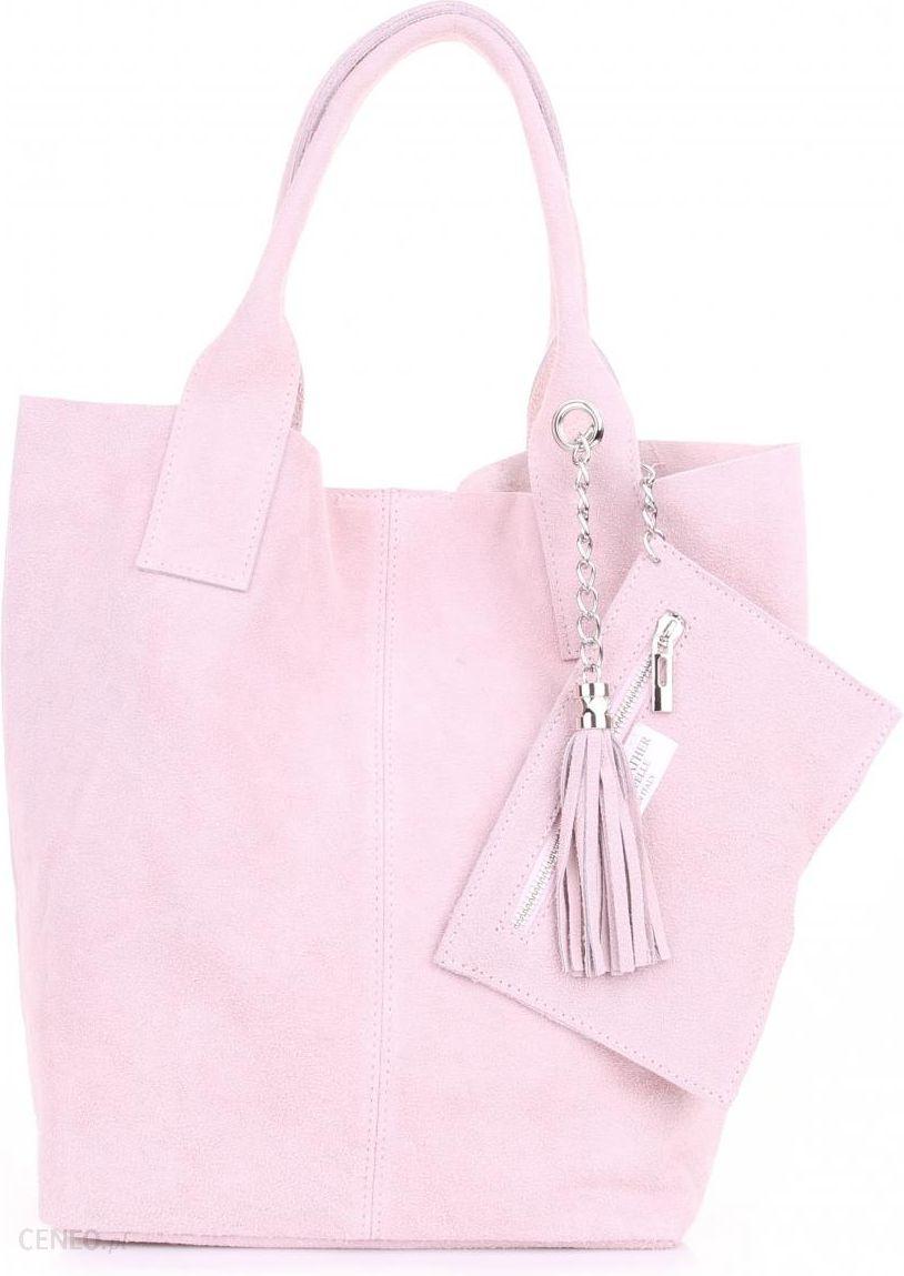 8fd140d3b50ad Torebka skórzana Shopper bag zamsz naturalny Pudrowy Róż (kolory) - zdjęcie  1