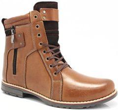 45b8f65b78721a KENT 237 BRĄZ - Wysokie męskie buty zimowe skóra - Brązowy