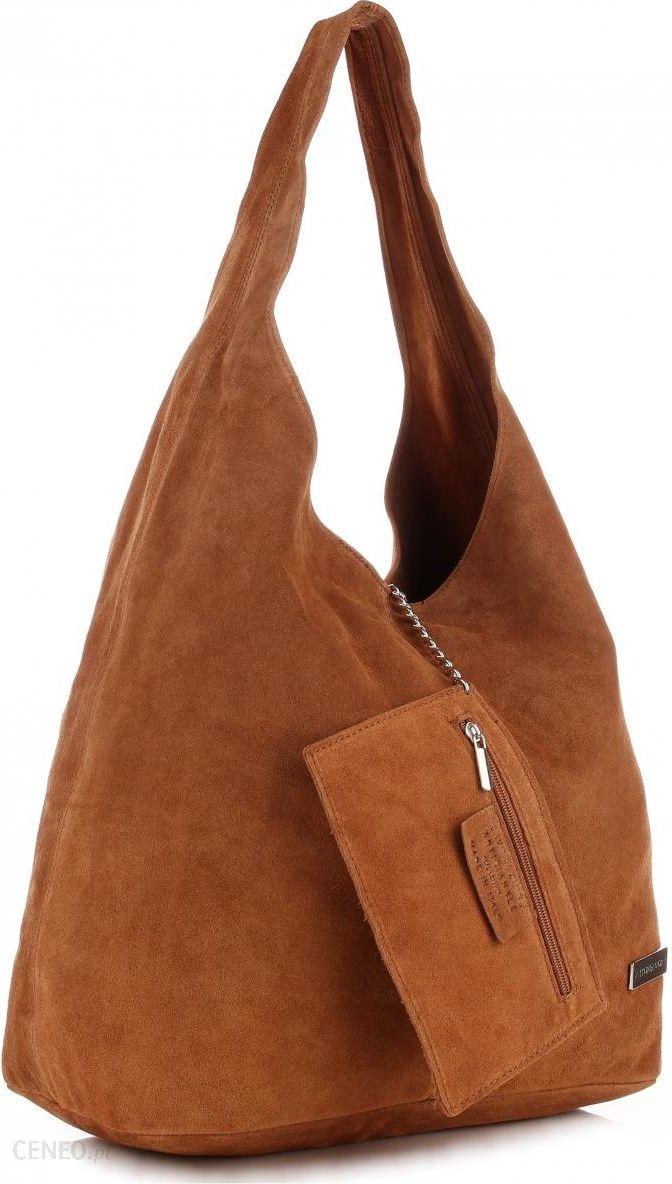 fc21bccfeb89c Oryginalne Torby Skórzane XL VITTORIA GOTTI Shopper Bag z Etui Zamsz  Naturalny Ruda (kolory)