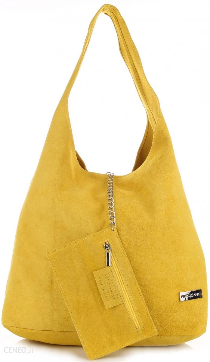 Oryginalne Torby Skórzane XL VITTORIA GOTTI Shopper Bag z Etui Zamsz Naturalny Żółta (kolory) Ceny i opinie Ceneo.pl