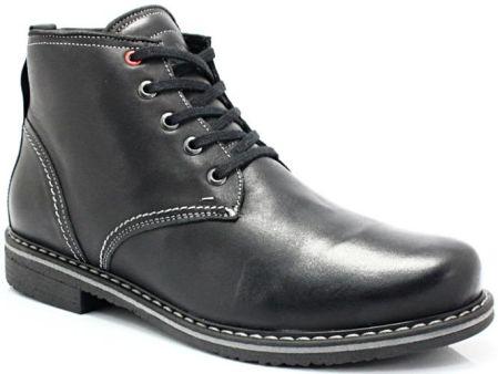 8885e9a8e55a3a KENT 238 CZARNY - Skórzane buty zimowe ocieplone naturalnym futrem - Czarny