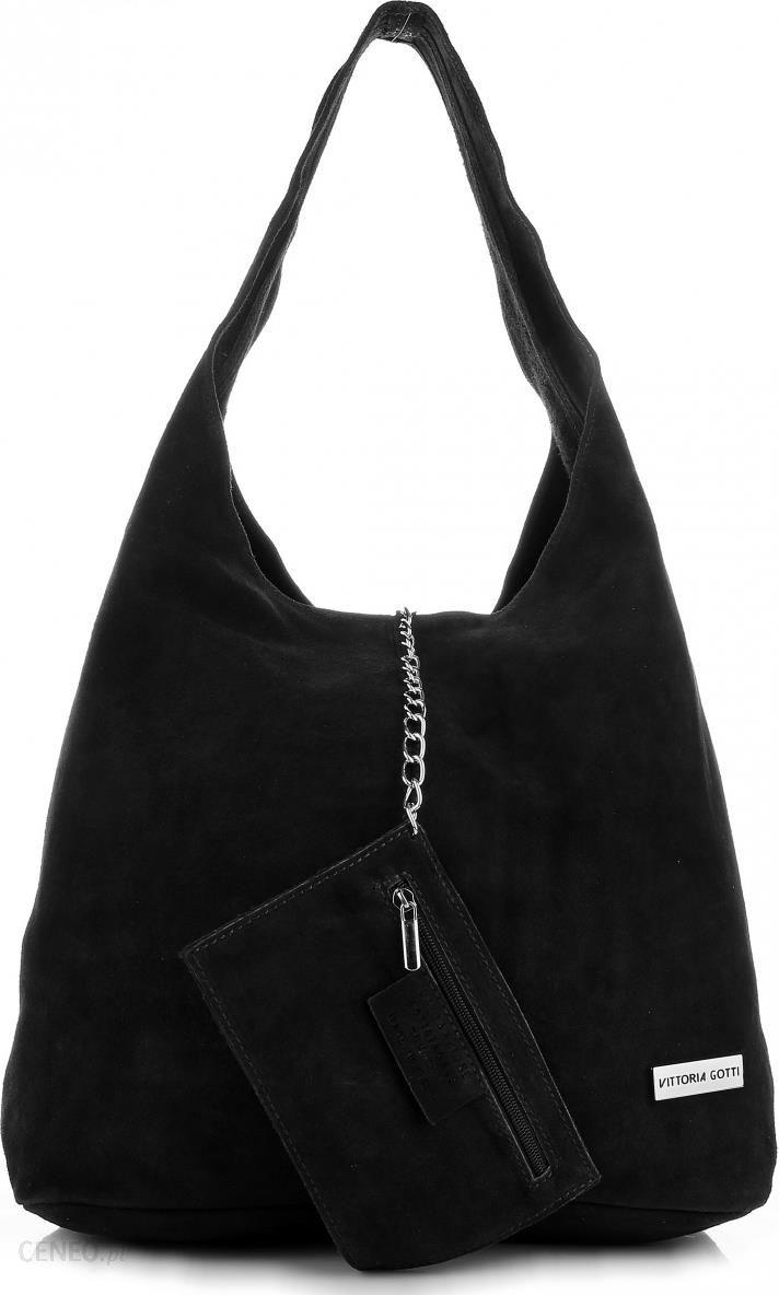 9f2bfddd16eab Oryginalne Torby Skórzane XL VITTORIA GOTTI Shopper Bag z Etui Zamsz  Naturalny Czarna (kolory)