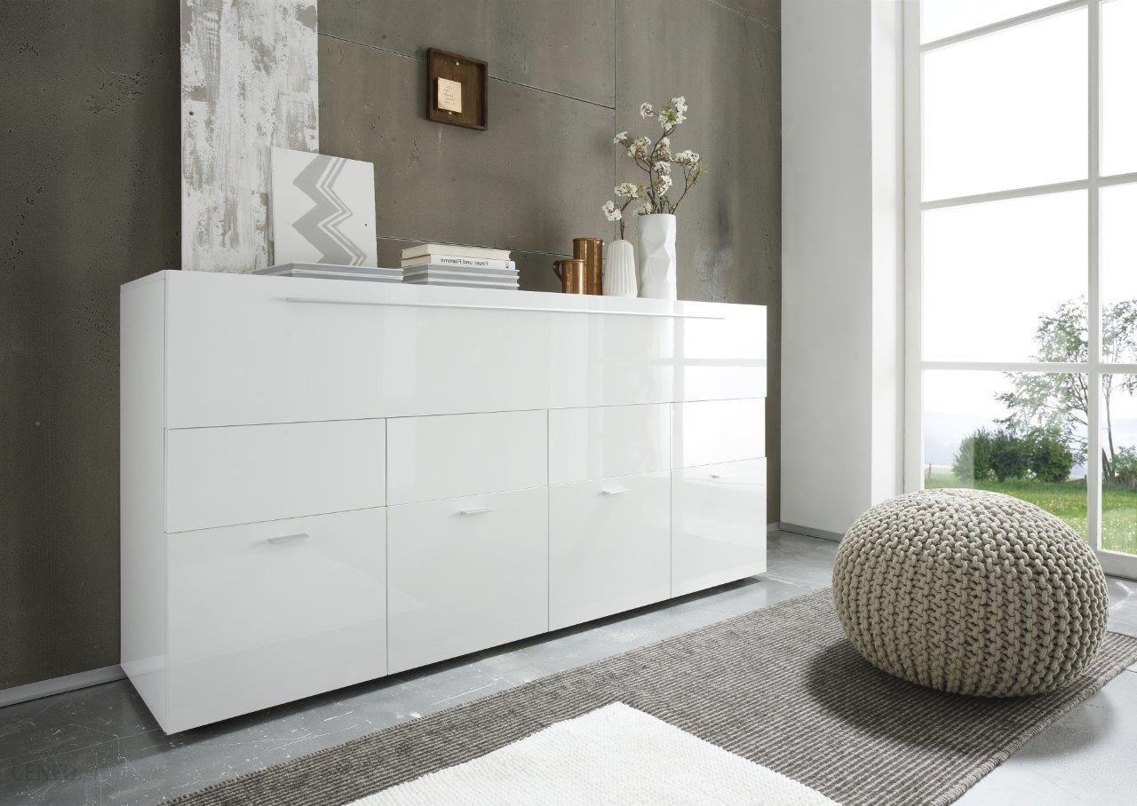 komoda w oska lakierowana na wysoki po ysk bia a linea 161 43 85 4 drzwi 1 klapa kolekcja. Black Bedroom Furniture Sets. Home Design Ideas