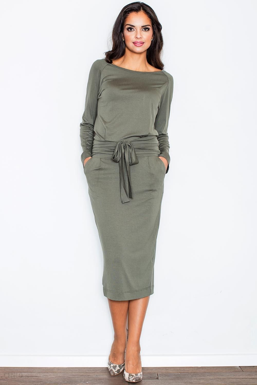 67fcbb9a7d Figl 246 Elegancka sukienka - oliwka - Ceny i opinie - Ceneo.pl
