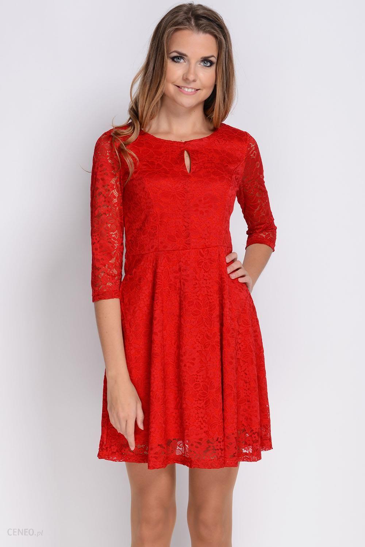 AVARO Rozkloszowana koronkowa sukienka SU 741 czerwony