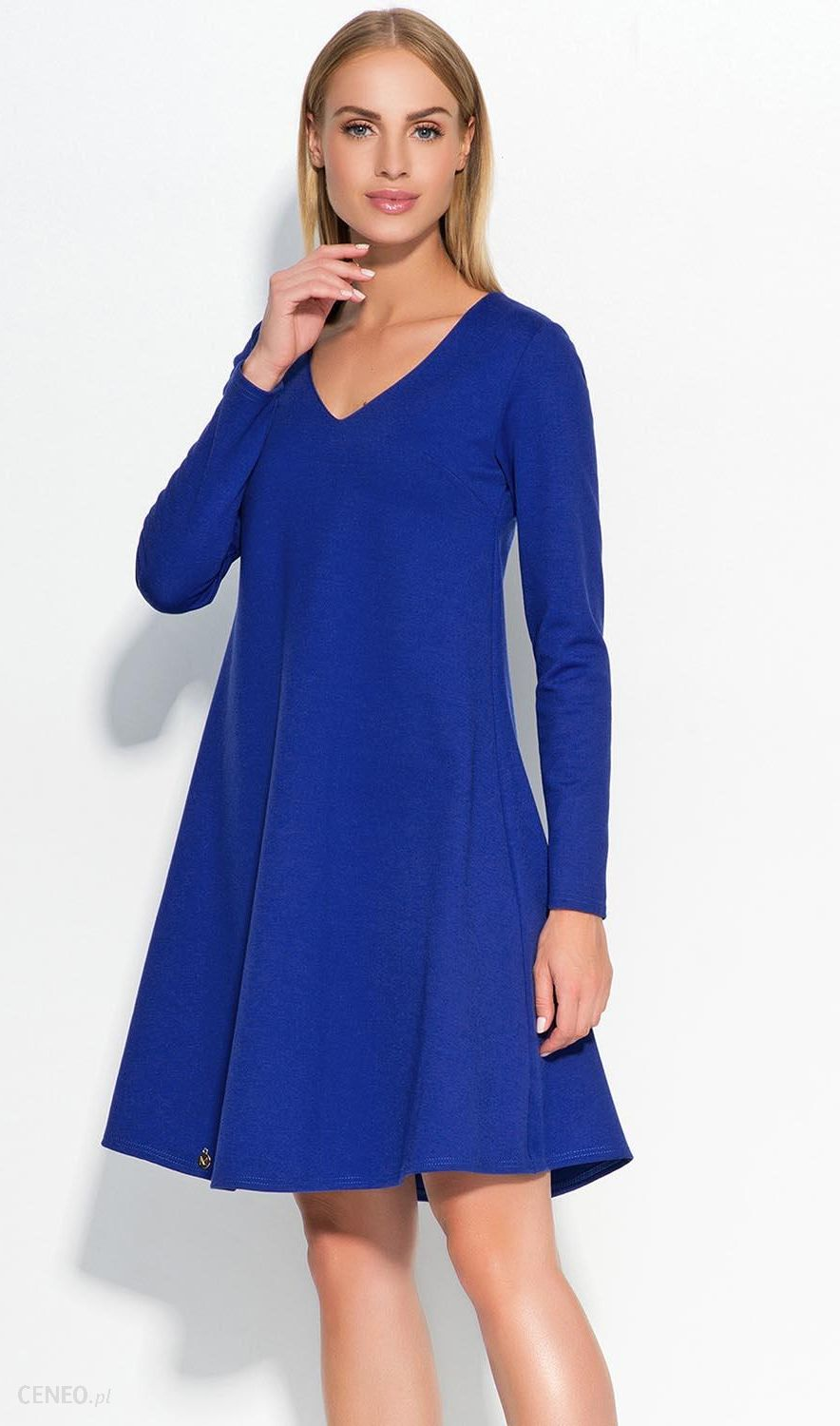 f53c219f05 Makadamia M326 Sukienka o trapezowym kroju - chabrowy - Ceny i ...