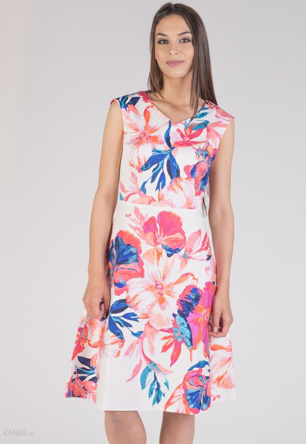 cbf692ef48 Rozkloszowana sukienka w duże kwiaty - Ceny i opinie - Ceneo.pl
