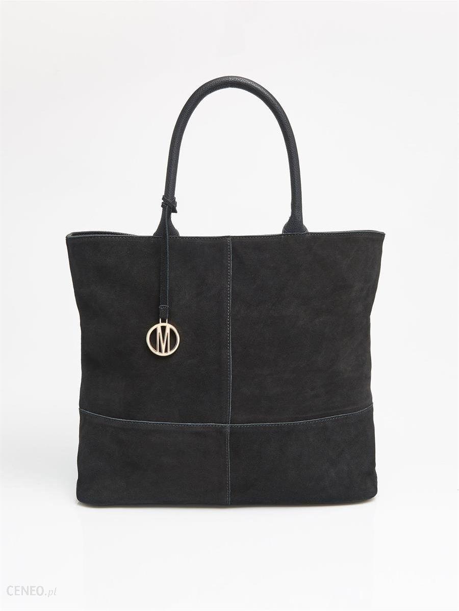 677a237aa01c1 Skórzana torebka z łączonych materiałów - Mohito - Czarny - damska -  zdjęcie 1