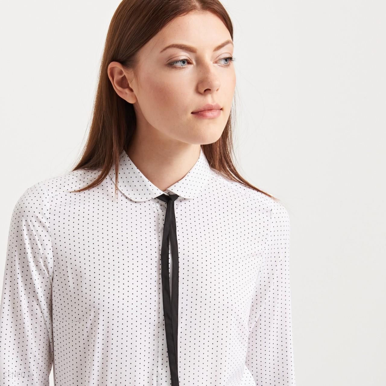 Koszula z wiązaniem przy szyi - Reserved - Kremowy - damska - Ceny i ... cb904a2ed4