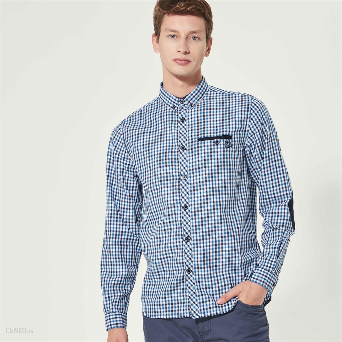 Koszula w drobną kratkę House Koszule męskie niebieskie