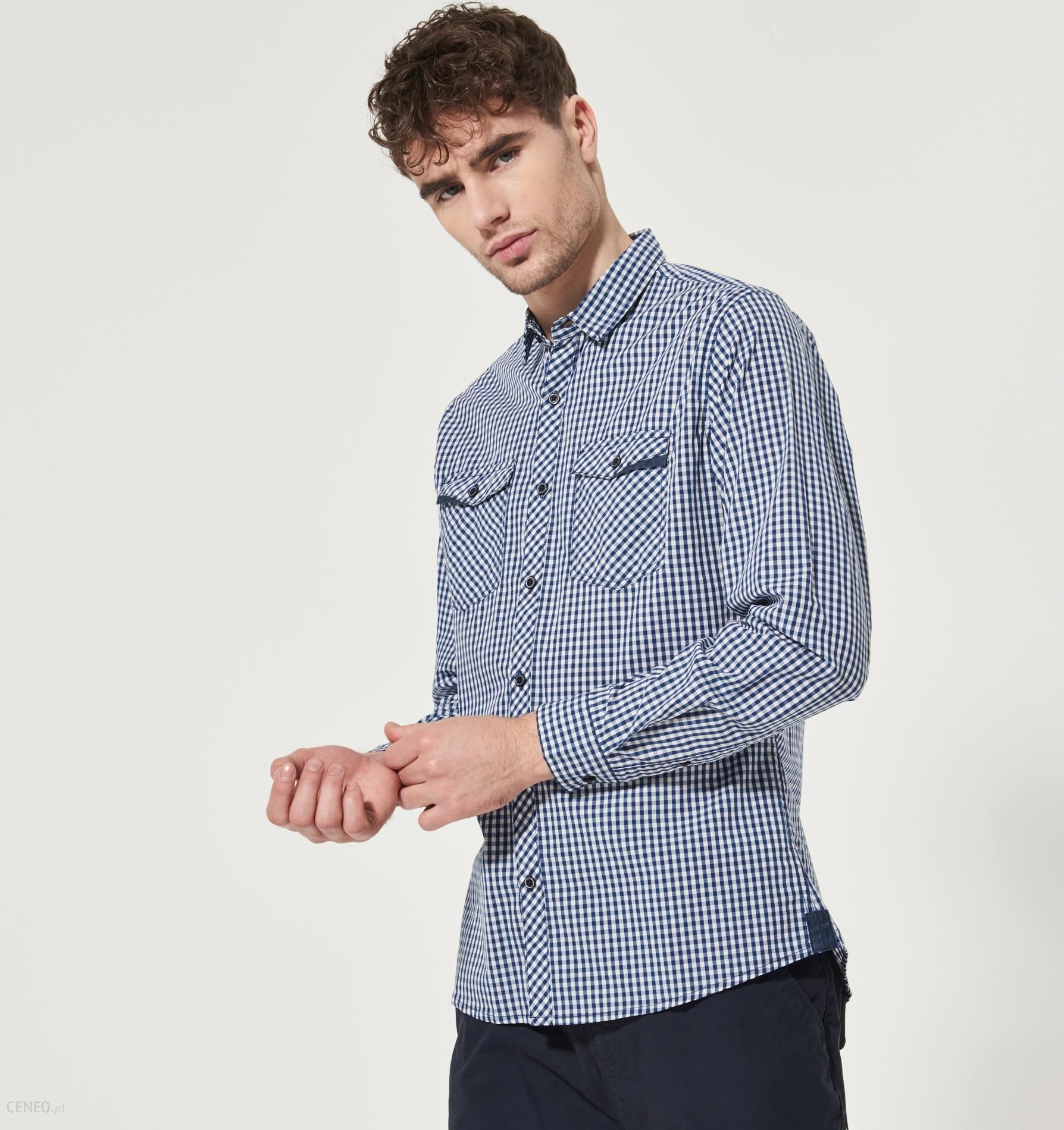 House Koszula w kratę Niebieski męska Ceny i opinie  UQU2n