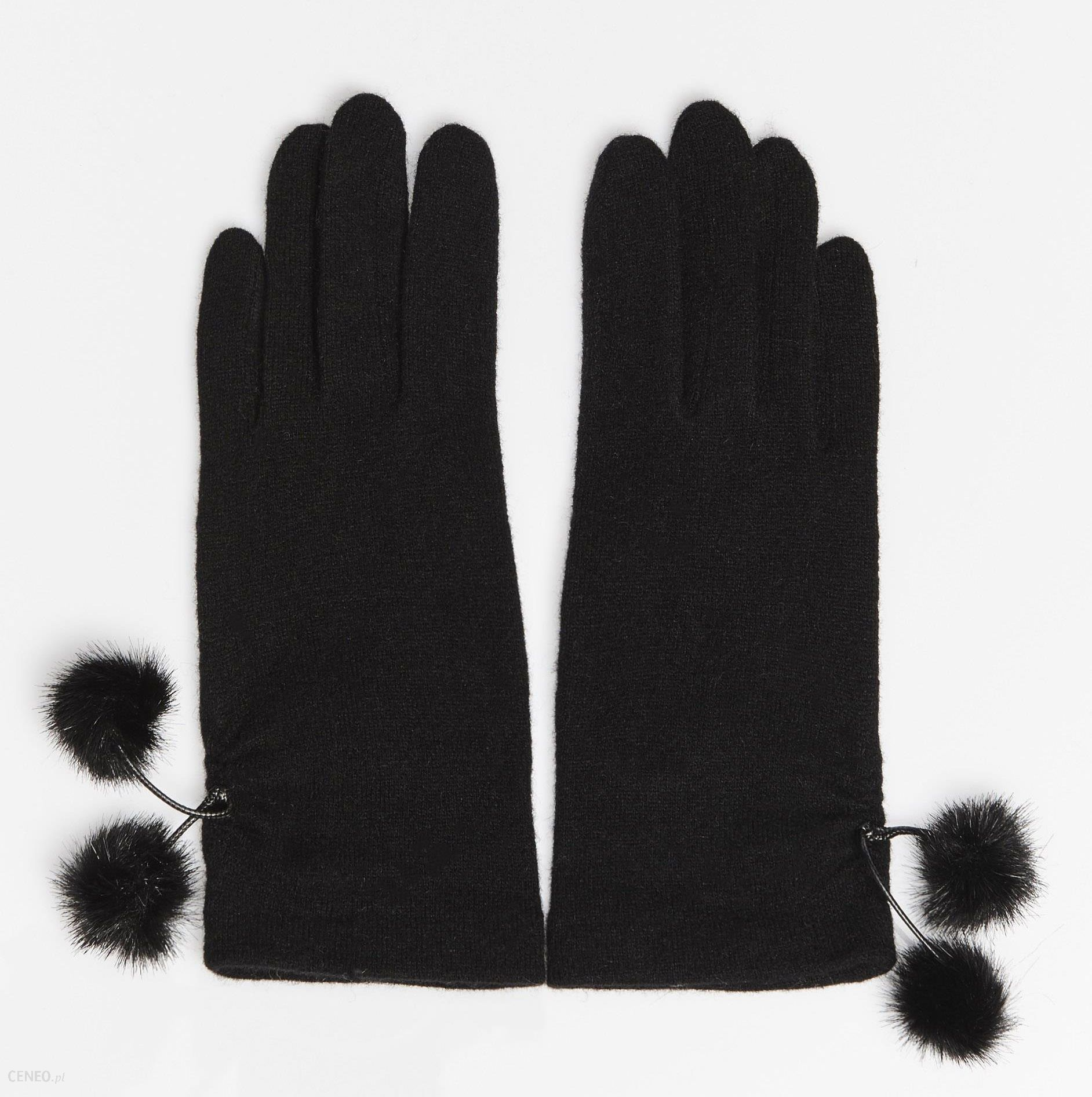 ae4d53eb83df0 Mohito - Wełniane rękawiczki z pomponami - Czarny - damska - Ceny i ...