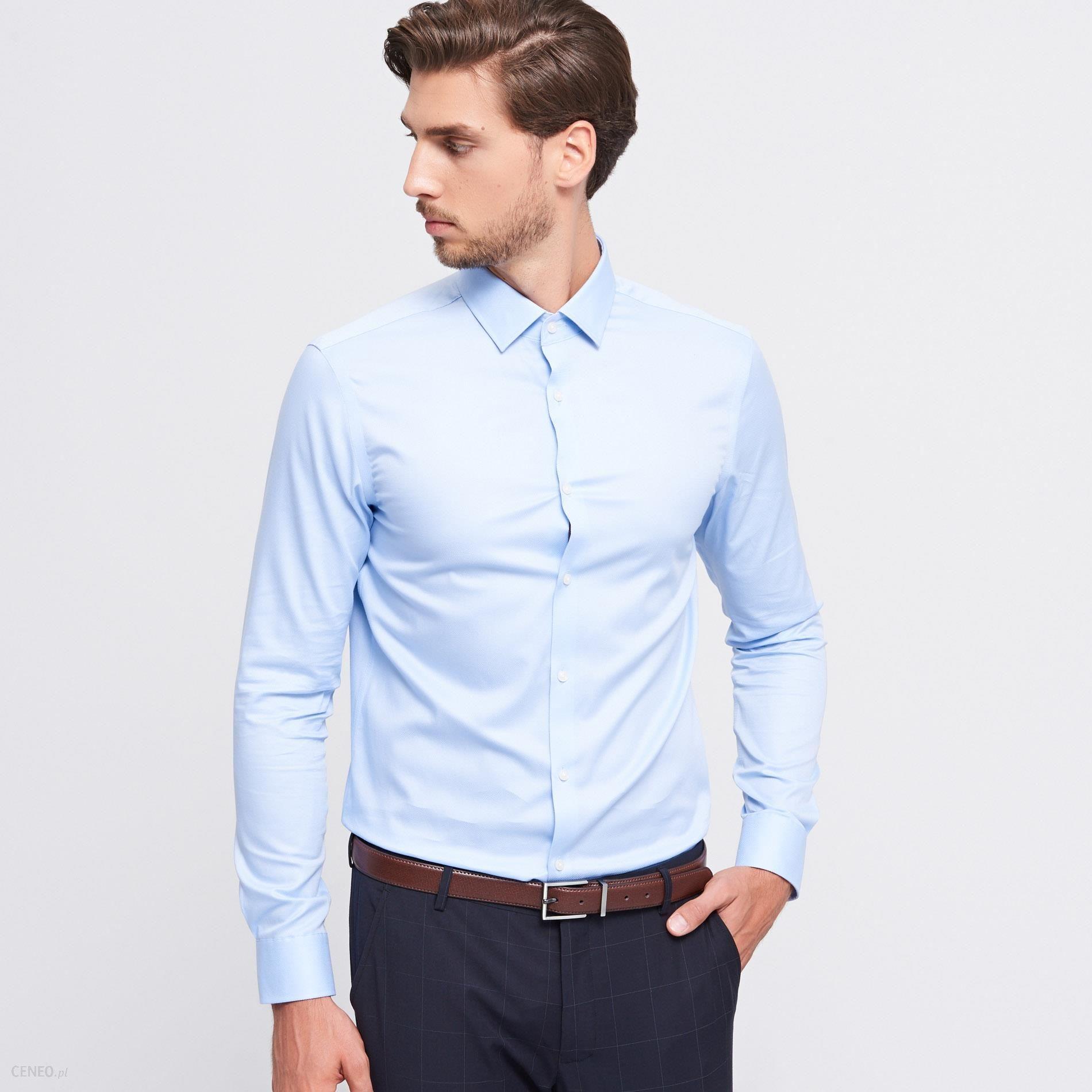27a3b81b8 Reserved - Bawełniana koszula slim fit - Niebieski - męska - Ceny i ...
