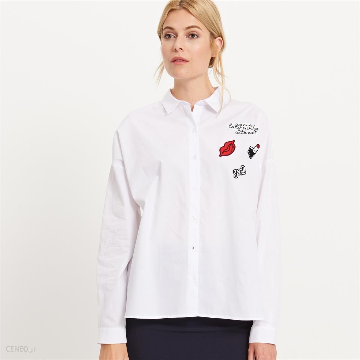 1d8872bc74aec3 Reserved - Koszula z naszywkami - Biały - damska - Ceny i opinie ...