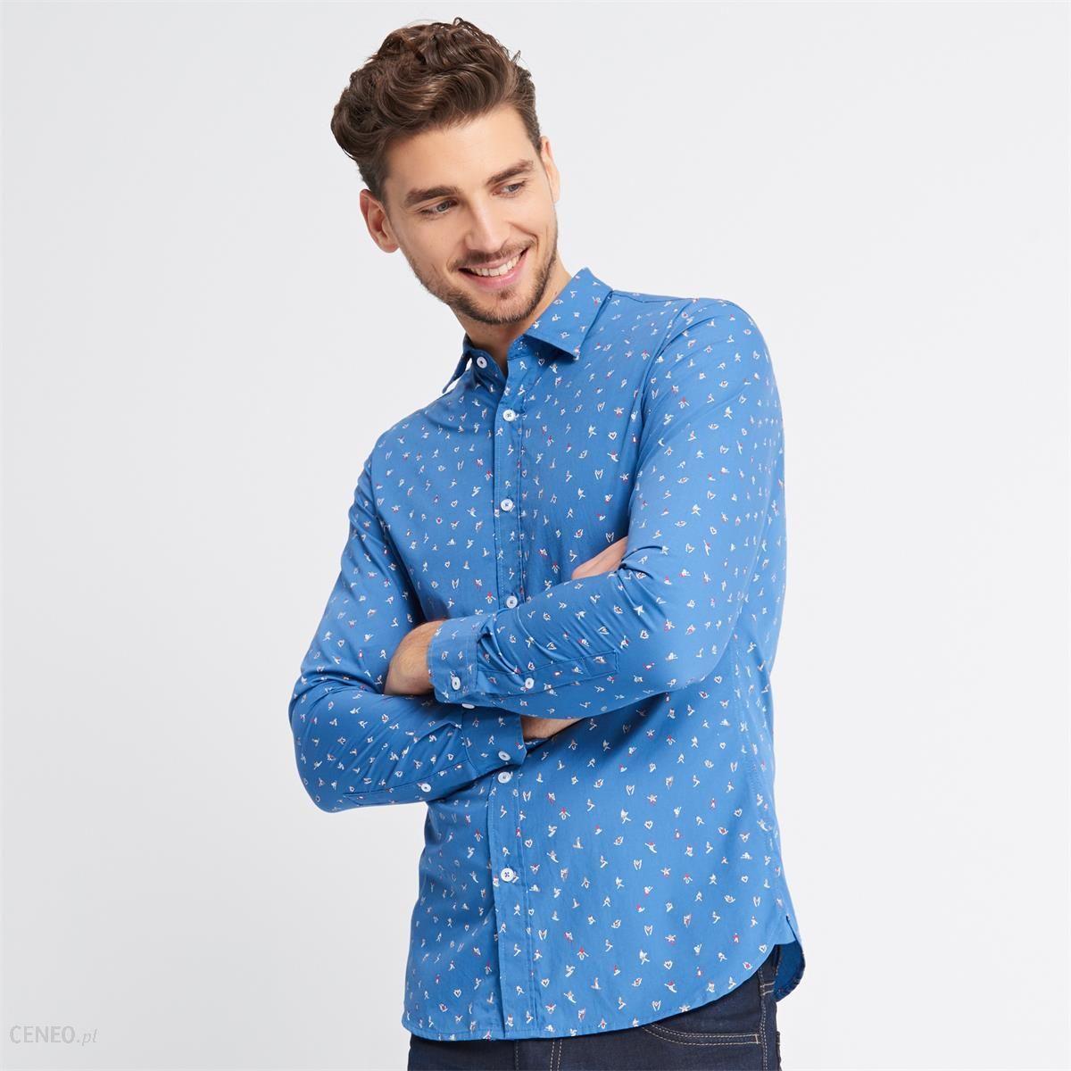 f38e7fb1deab Reserved - Koszula w świąteczny wzór - Niebieski - męska - Ceny i ...