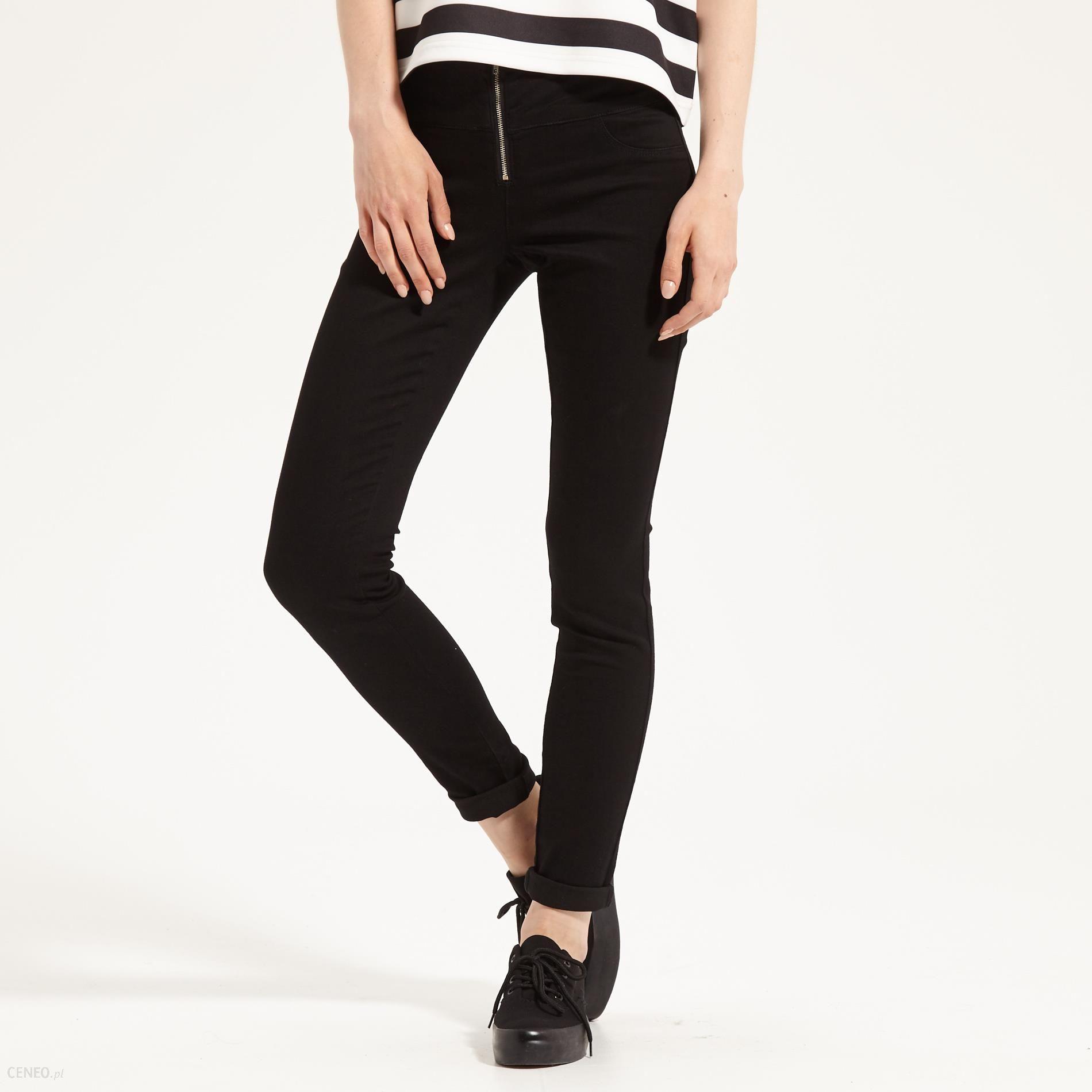 Sinsay Spodnie z wysokim stanem Czarny damska