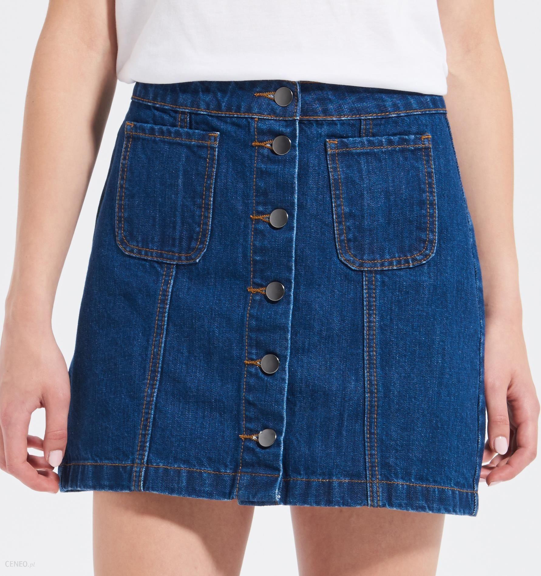 3b99bd8a Sinsay - Jeansowa spódnica z guzikami - Granatowy - damska
