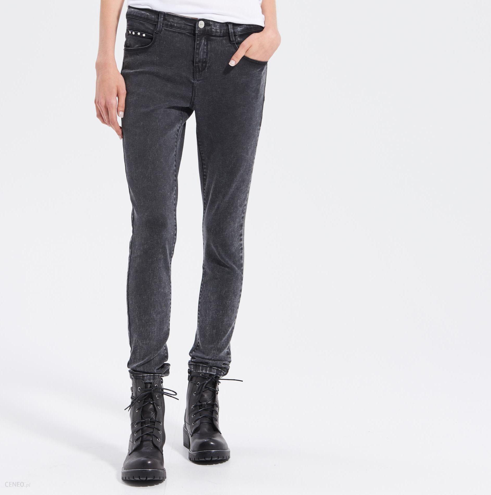 66f0cffc9e887 Sinsay - Marmurkowe jeansy slim fit - Szary - damska - Ceny i opinie ...