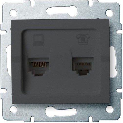 Gniazdo Elektryczne Kanlux Logi Gniazdo Komputerowo Telefoniczne Rj45 Cat 6 Rj11 Grafit 25290 Opinie I Ceny Na Ceneo Pl