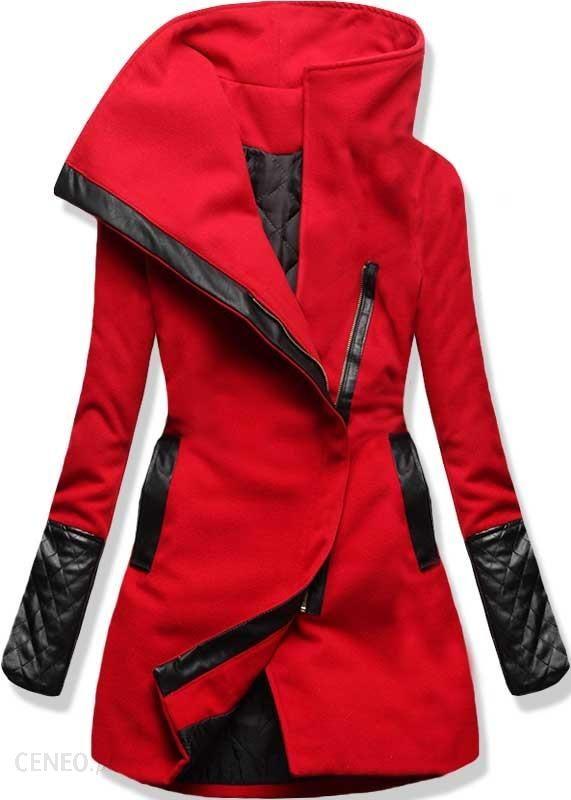 Płaszcz ze stójką i wstawkami z eko skóry zoio pl czarny Krótkie płaszcze damskie