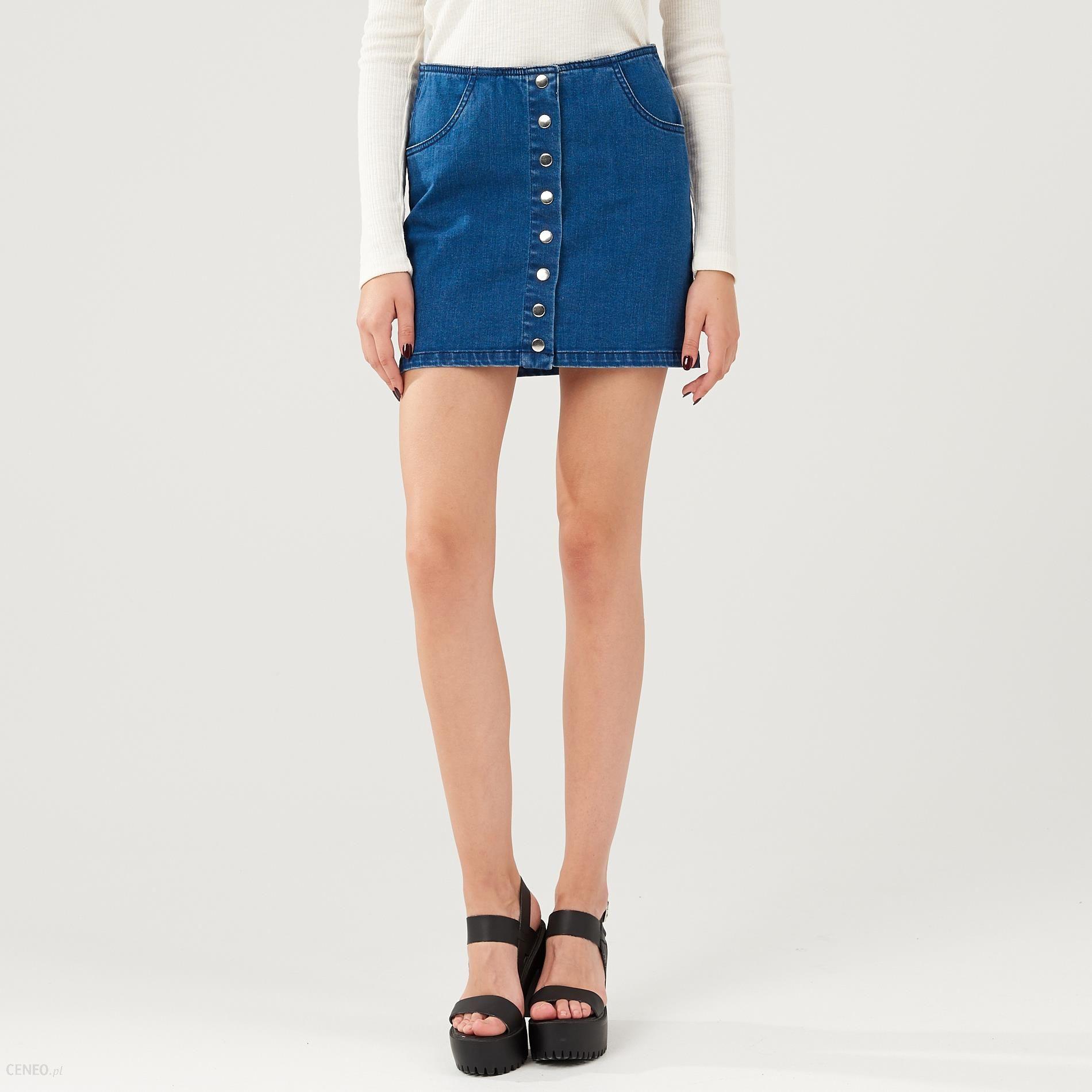 62a9b28f7e Cropp - Jeansowa spódnica z guzikami - Niebieski - damska - Ceny i ...