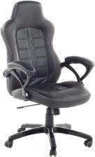 Beliani Krzesło biurowe czarno ciemnobrązowe obrotowe