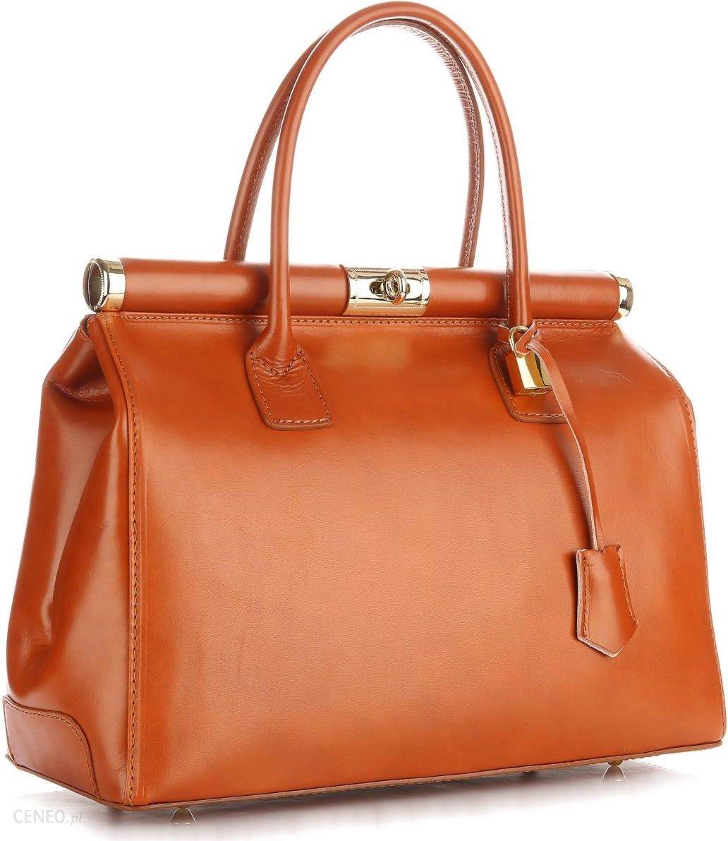 1e9b4efa0692b Włoska Torebka Skórzana Duży Kufer Skóra Licowa Genuine Leather Rudy  (kolory) - zdjęcie 1