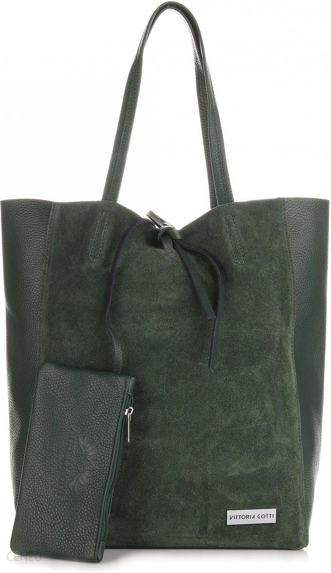 6e2e7bfcb32eb Włoskie Torebki Skórzane VITTORIA GOTTI ShopperBag z Etui Zielona (kolory)  - zdjęcie 1