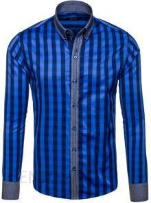 82c3a707c56f4b Granatowa koszula męska w kratę z długim rękawem Bolf 6954 - Ceny i ...
