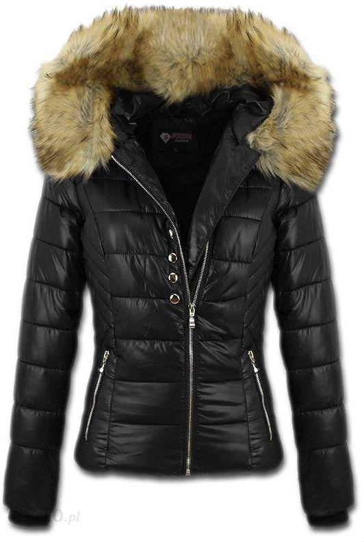 1513 taliowana damska zimowa kurtka jenot czarna