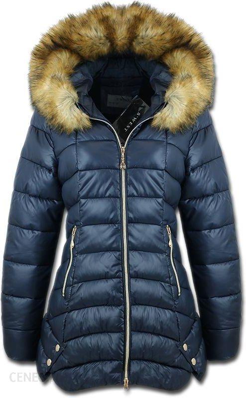 granatowa kurtka zimowa ciepła damska