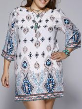 Plus Size Ethnic Print Open Back Dress