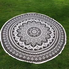 Mandala Lotus Flower Pattern Chiffon Round Beach Throw