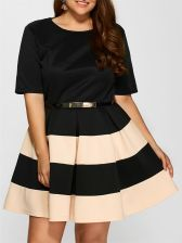 Belted Striped Pleated Dress