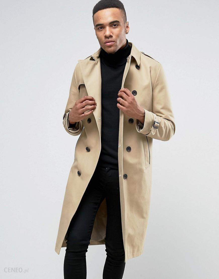a9fe4e21e ASOS Shower Resistant Longline Trench Coat With Belt In Stone - Stone -  zdjęcie 1