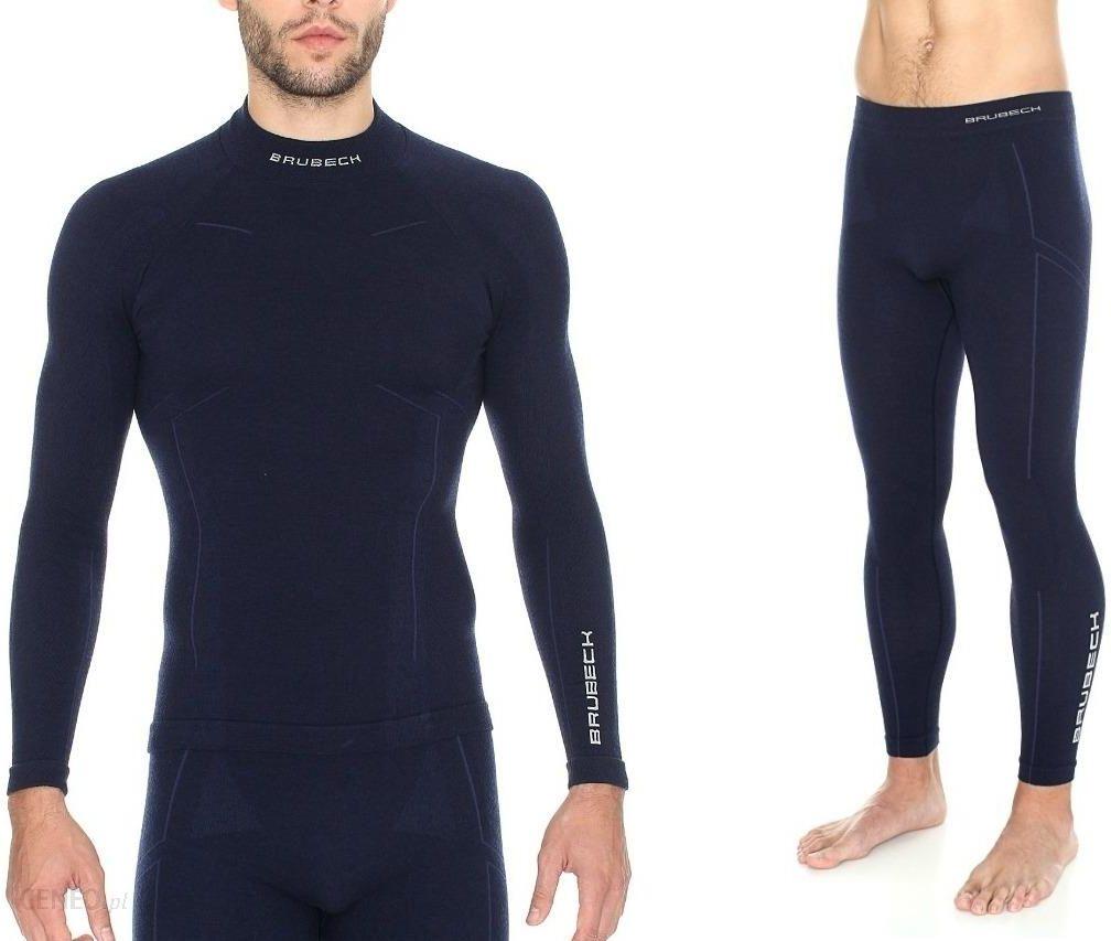cbe8524c6277c5 Brubeck Bielizna Męskia Komplet Extreme Wool Merino Ls11920 Le11120  Granatowy - zdjęcie 1