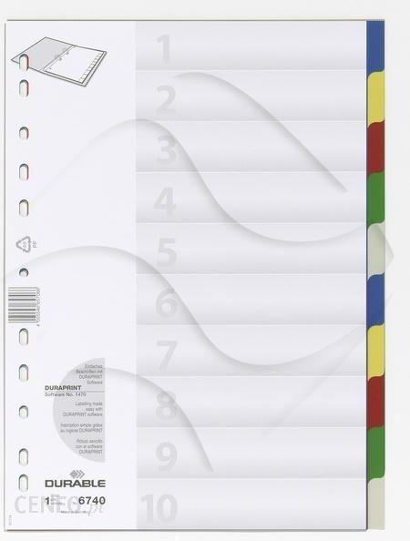 9b51de69986a5 Durable Przekładki do Segregatorów Czyste (10) Strona Tytułowa PP A4 Mix  Kolorów - zdjęcie