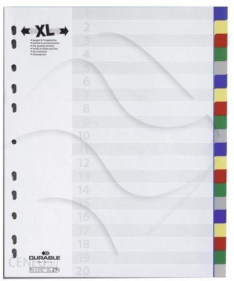 75f629f2af512 Durable Przekładki do Segregatorów Czyste (20) Strona Tytułowa PP A4  Poszerzane Mix Kolorów -